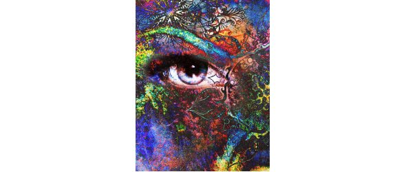 goddess women eye, multicolor background with oriental mandala ornament. eye contact.